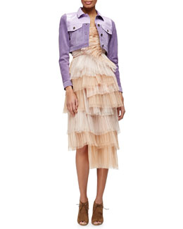 Burberry Prorsum Patent-Trimmed Suede Crop Jacket & Petal-Pleated Tiered Bustier Dress