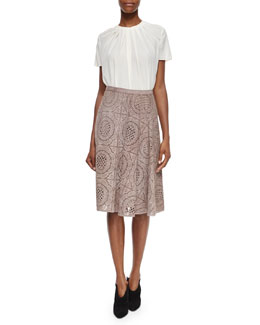Burberry London Pleated Short-Sleeve Blouse & Laser-Cut Suede Lace Pattern Skirt
