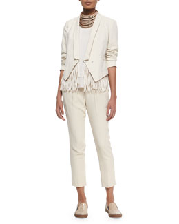Brunello Cucinelli Cropped 3-In-1 Tux Jacket, Layered Silk Crepe Tank, Crepe Pull-On Pants & Multi-Strand Leather Necklace