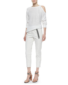 Brunello Cucinelli Sequined Single Cold-Shoulder Sweater & Wide-Cuffed Monili-Belt Pants, White