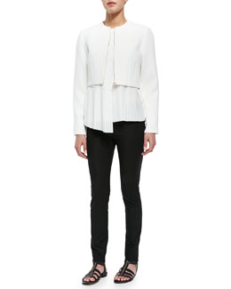 Derek Lam 10 Crosby Woven Cropped-Front Zip Jacket, Asymmetric-Hem Top & Stretch-Knit Cotton-Blend Leggings