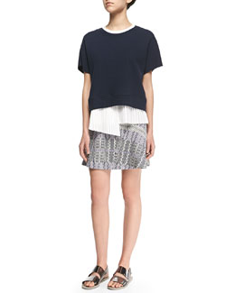 Derek Lam 10 Crosby 2-in-1 Sweater with Asymmetric Pleated Underpinning & Patterned Asymmetric Flare Skirt