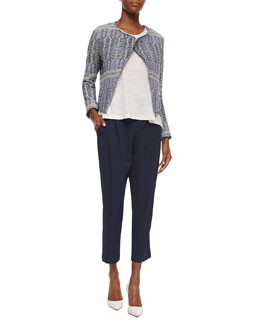 Derek Lam 10 Crosby Angled Tweed Cropped Jacket, Loose Sleeveless Slub Top & Pleated Track-Style Trousers