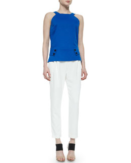 Derek Lam 10 Crosby V-Back Belted Knit Top & Pleated Cropped Track-Pant Trousers