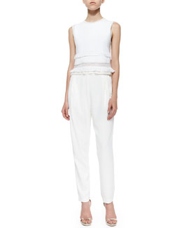 Derek Lam 10 Crosby Tassel-Trim Sleeveless Blouse & Pleated Cropped Track-Pant Trousers