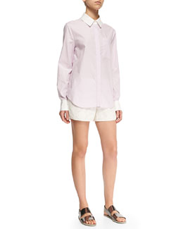 Derek Lam 10 Crosby Long-Sleeve Layered-Hem Shirt & Perforated/Floral-Pattern Boxing Shorts