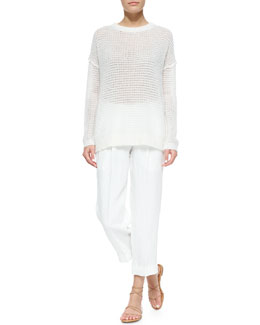 Michael Kors Long-Sleeve Loose-Knit Mohair-Blend Sweater & Cashmere-Blend Ankle Pants, White
