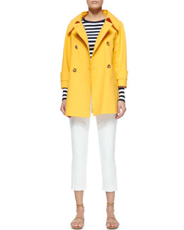 Michael Kors Double-Breasted Raincoat, Striped Ribbed Long-Sleeve Tee & Zip-Detailed Skinny Ankle Pants