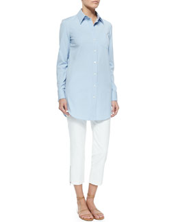 Michael Kors French-Cuff Poplin Blouse & Zip-Detailed Skinny Ankle Pants