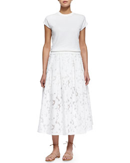 Michael Kors Cap-Sleeve Jersey Pullover & Floral Fil Coupe Midi Skirt, White