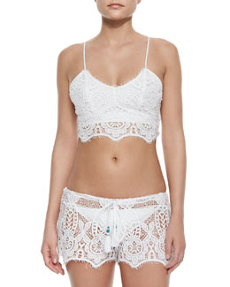 Miguelina Zoe Crochet Swim Top & Becca Crochet Coverup Shorts
