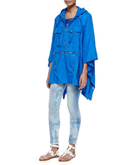 Ralph Lauren Black Label Brayden Tech Fabric Packable Poncho, Teaser Scoop-Neck Ribbed Tank & 400 Matchstick Distressed Denim Jeans