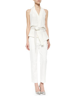 3.1 Phillip Lim Draped Crisscross-Back Judo Belt Top & Classic Pencil Pants