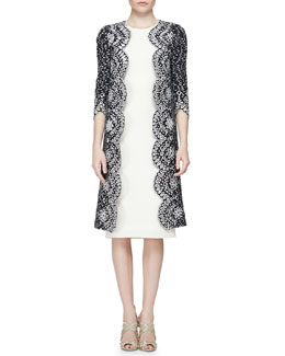 Oscar de la Renta Floral Eyelet Scalloped Tweed Jacket & Woven Silk Pencil Dress