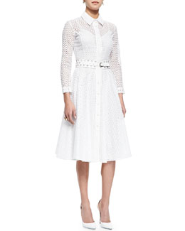 Oscar de la Renta Swiss Allover Eyelet Shirtdress & Check Cutout Leather Belt