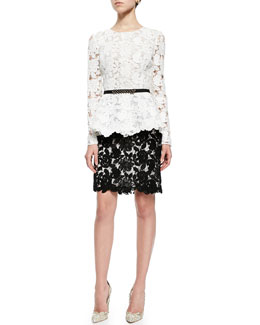 Oscar by Oscar de la Renta Corded Guipure Lace Peplum Top, Silk Faille Belt & Lace Pencil Skirt