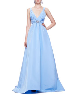 "Oscar de la Renta Faille Ballgown with Thin Straps & 3/4"" Faille Belt with Crystal Buckle"