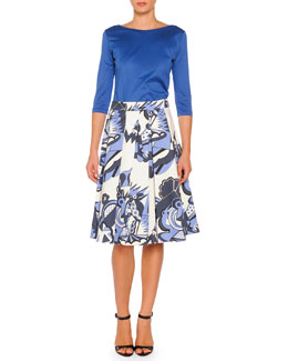 Piazza Sempione 3/4-Sleeve Boat-Neck Tee & Depero-Print Pleated A-Line Skirt