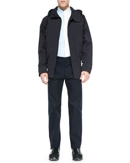 Maison Martin Margiela Hooded Short Anorak Jacket, Bicolor Zipper-Down Shirt & Flat-Front Trouser