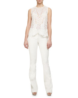Theory Icon Sheer Lace Peplum Top & Full-Length Flared Denim Pants