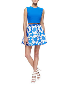 Alice + Olivia Klynn Sleeveless Knit Crop Top & Connor Floral-Print Lampshade Skirt