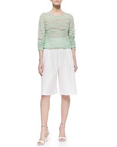 Fallon Sheer Knit Sweater & Pleated Poplin Gaucho Pants