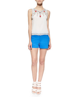 Alice + Olivia Cecille Beaded Sequined Silk Top & Signature Cady Shorts