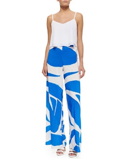 Alice + Olivia Layered Flowy Silk Tank & Printed Super-Flare Wide-Leg Pants