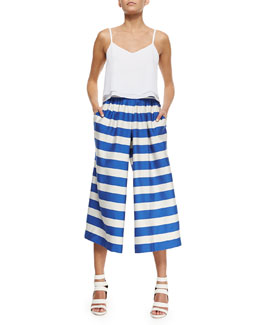 Alice + Olivia Layered Flowy Silk Tank & High-Waist Striped Pleated Culottes