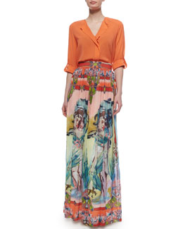 Alice + Olivia Open-Placket Stretch-Silk Blouse & Lola Printed Floral-Print Maxi Skirt
