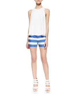 Alice + Olivia Vera Leather-Trim High-Low Top & Wide-Stripe Signature Cady Shorts