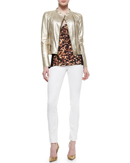 Roberto Cavalli Metallic Laminated Leather Moto Jacket, Tortoise-Print Contrast-Side Top, Bi-Stretch Skinny Jeans