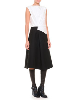 Jil Sander Fold-Pleated Colorblock Fit-And-Flare Dress & Napa Leather Knee-High Socks