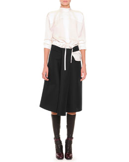 Chloe Slit-Back Drawstring Blouse, Slit Draped A-Line Skirt & Napa Leather Knee-High Socks