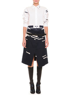 Chloe Broken Stripe-Print Button Blouse, Broken Stripe-Print Asymmetric Skirt, Clean Line Leather Belt & Napa Leather Knee-High Socks