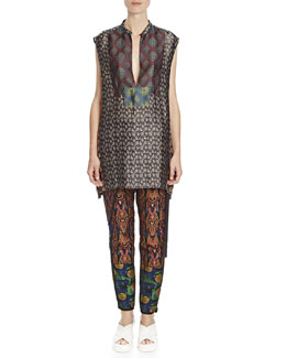 Dries van Noten Multi-Print Split-Neck Tunic & Mixed-Jacquard Wrap-Front Harem Pants