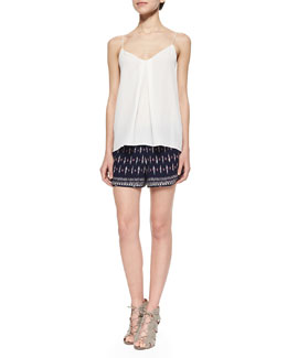 Joie Nahlah Pleated Silk Sleeveless Top & Bogen Printed Relaxed Silk Shorts