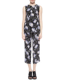 Thakoon Addition Floral-Print Loose Sleeveless Top & Cropped Silk Pants