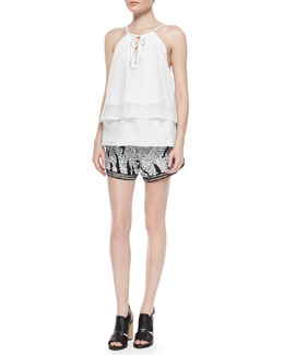 Thakoon Addition Layered Sleeveless Poplin Top & Sequined Relaxed Shorts