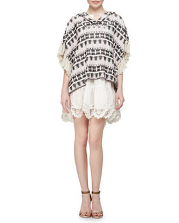 Thakoon Addition Tribal-Pattern Tweed Pullover & Crochet-Hem Voile Pullover Dress