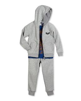 Little Marc Jacobs Zip-Front Hooded Sweater, Swim Jersey Tee & French Terry-Lined Track Pants