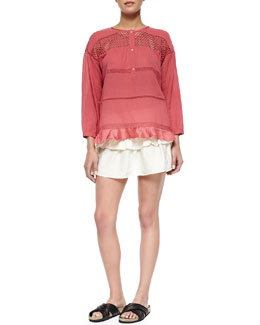 Isabel Marant Etoile Chay Striped Lattice-Inset Blouse, Crista Smocked Ruffle-Tiered Skirt & Holden Leather Crisscross Slide