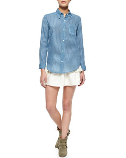 Isabel Marant Etoile Ulia Striped Voile Blouse, Crista Smocked Ruffle-Tiered Skirt & Stitched Suede Harness Bootie