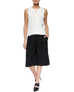 Veronica Beard Gathered Surplice Draped Silk Top & Pleated Crepe Culottes