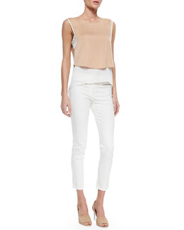 Veronica Beard Layered Stretch-Silk Tank & Skinny Zip-Pocket Cropped Jeans