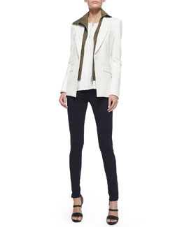 Veronica Beard Jacket with Funnel Dickey, Sleeveless Silk Pintuck Blouse & Stretch Denim Leggings
