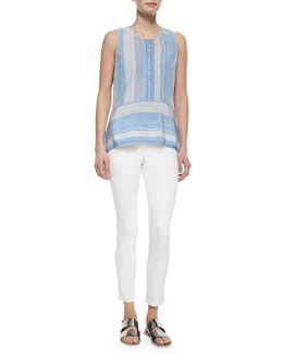 Veronica Beard Mixed-Print Sleeveless Silk Top & Skinny Zip-Pocket Cropped Jeans