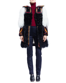 Chloe Persian Tapestry Shearling Coat, Cashmere Round-Hem Sweater & Skinny Jersey Ankle Pants