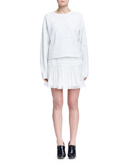 Chloe Cashmere-Blend Geometric Macrame Sweater & Pleated Tiered Mini Skirt
