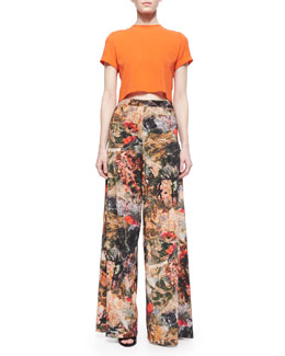 Alice + Olivia Kimberlee Cuffed Boxy Top & Printed Super-Flare Pants